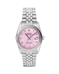 Pre Owned Rolex Stainless Steel Datejust Watch With Pink Mother Of Pearl Dial 34Mm