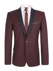 Limehaus Plain Shawl Neck Slim Fit Suit Jacket Plum