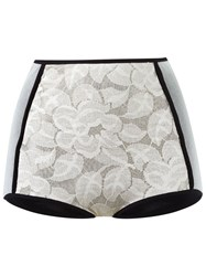 Emannuelle Junqueira Panelled Lace Hot Pants White