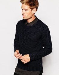 Replay Crew Jumper Loose Weave Knit Darkblue