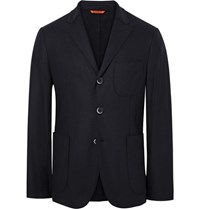 Barena Navy Slanega Unstructured Wool Blend Blazer Navy