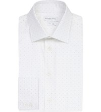 Richard James Slim Fit Micro Crescent Cotton Shirt White