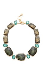 Tory Burch Stone Statement Necklace Denim Blue Tory Gold