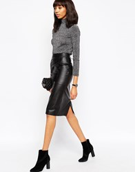 Asos Midi Pencil Skirt In Leather Black