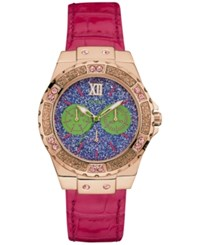 Guess Women's Pink Leather Strap Watch 39Mm U0775l4