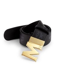 Mcm Visetos Round Reversible Belt Black Gold