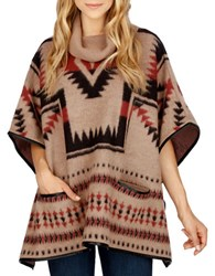Lucky Brand Wool Blend Aztec Poncho Beige Multi