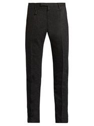 Incotex Slim Leg Wool Flannel Trousers Charcoal