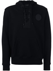 Marcelo Burlon County Of Milan Lace Up Placket Hoodie Black