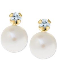 Macy's Children's Cultured Freshwater Pearl 4Mm And Diamond Accent Stud Earrings In 14K Gold