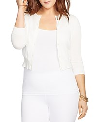 Lauren Ralph Lauren Plus Cropped Knitted Cardigan White