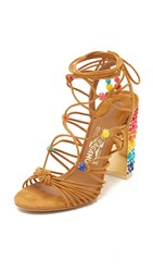 Edgardo Osorio X Salvatore Ferragamo Rainbow Gladiator Sandals Golden Brown