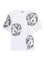 Alexander Mcqueen Cherry Blossom Embroidered Cotton T Shirt