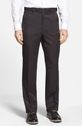 Men's Big And Tall Berle Self Sizer Waist Flat Front Trousers Black
