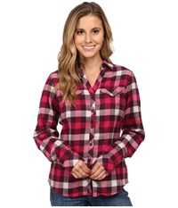 Columbia Simply Put Ii Flannel Shirt Purple Dahlia Check Women's Long Sleeve Button Up Red
