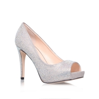 Grind Open Toe Stiletto Court Shoes Silver