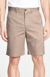 Men's John W. Nordstrom Supima Cotton Flat Front Trouser Shorts Taupe