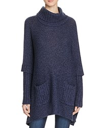 Aqua Turtleneck Poncho Sweater Dark Storm