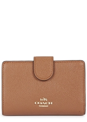 Coach Camel Mini Grained Leather Wallet Tan