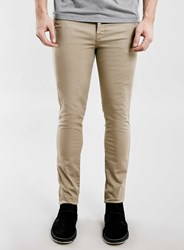 Topman Stone Stretch Skinny Chinos Brown