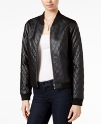 Bar Iii Quilted Faux Leather Bomber Jacket Only At Macy's Deep Black