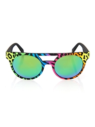 Italia Independent Neon Round Framed Mirrored Sunglasses