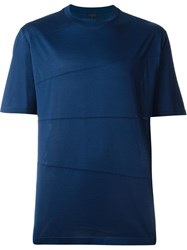 Lanvin Asymmetric Lined T Shirt Blue