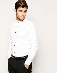 Asos Smart Tux Shirt In Long Sleeve With Wing Collar And Contrast Buttons White