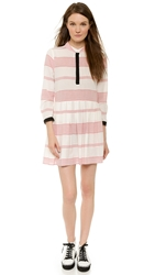 Band Of Outsiders Shirtdress With Contrast Vintage Red