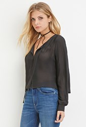 Forever 21 Contemporary Self Tie Chiffon Blouse Dark Grey