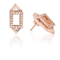 Astrid And Miyu Rectangle Ear Jacket In Rose Gold