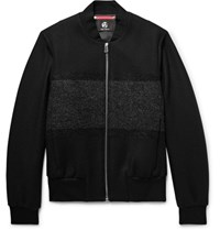 Paul Smith Ps By Boucle Panelled Wool Blend Twill Bomber Jacket Black