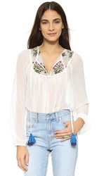 Re Named Botanical Garden Blouse Off White