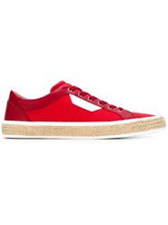 Dolce And Gabbana Braided Raffia Trim Sneakers Red