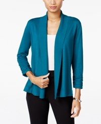 Jm Collection Ruched Open Front Cardigan Only At Macy's Teal Abyss