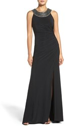 Vince Camuto Women's Beaded Neck Ruched Gown