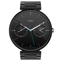 Motorola Moto 360 Metal Smartwatch Android Wear Dark Chrome Case And Stainless Steel Band