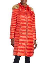 Kate Spade Faux Fur Trimmed Down Coat Lollipop Red