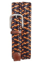 Torino Belts Men's Big And Tall Woven Leather Belt Navy