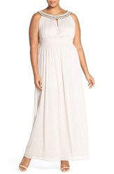 Plus Size Women's Sangria Beaded Neck Pleat Georgette Gown