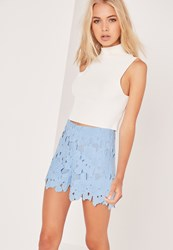 Missguided All Over Lace Floral Shorts Blue Blue