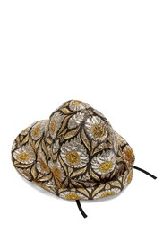 Gucci Wide Brim Lurex Floral Jacquard Hat Gold