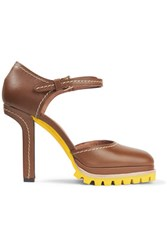 Marni Leather Mary Jane Pumps Tan