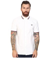 Fred Perry Flat Knit Collar Oxford Shirt White Men's Clothing