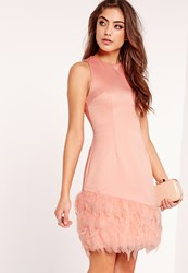 Missguided Feather Trim Bodycon Dress Pink Pink