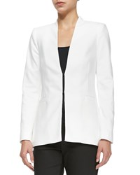 Alice Olivia Long Collarless Blazer White