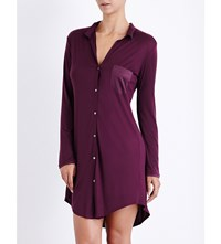 Hanro Long Sleeved Jersey And Stretch Silk Nightshirt Pomegranate