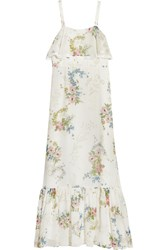Topshop Unique Hambledon Floral Print Silk Georgette Maxi Dress Ivory