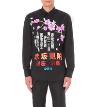 Dsquared Tokyo Metro Flower Relax Fit Cotton Shirt Black