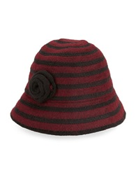 August Hats Striped Cloche Hat Red